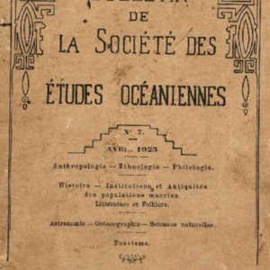 Bulletin de la Société des Études Océaniennes numéro 07