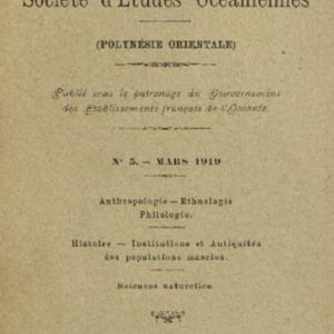 Bulletin de la Société des Études Océaniennes numéro 05